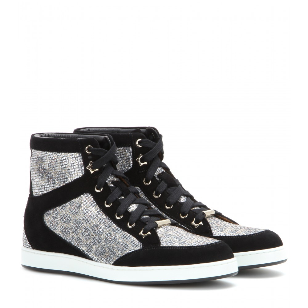 04c55c4bcf51ae Jimmy Choo Tokyo Suede And Glitter High-Top Sneakers in Black - Lyst