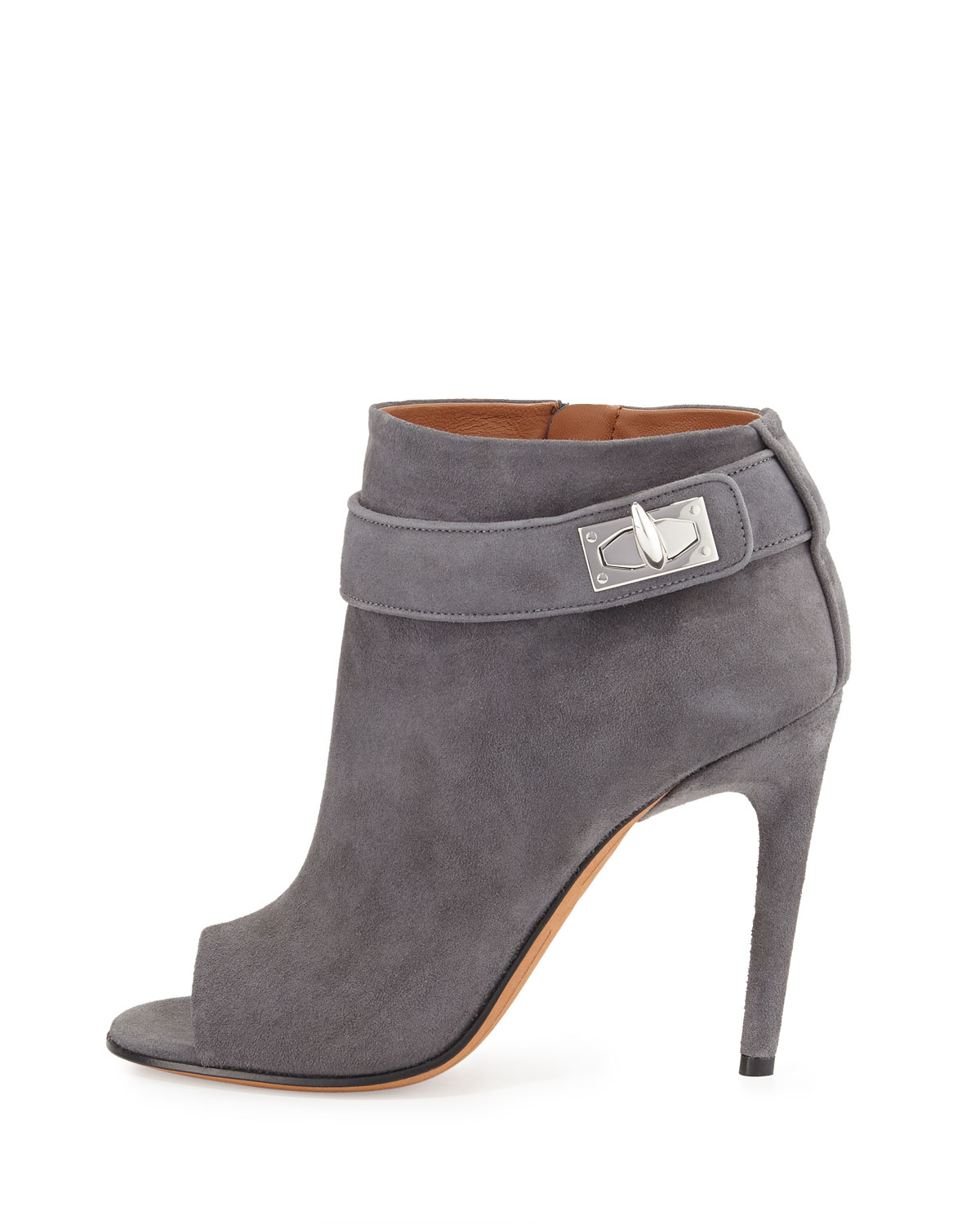 f125d1cac14 Givenchy Suede Shark-lock Open-toe Bootie in Gray - Lyst