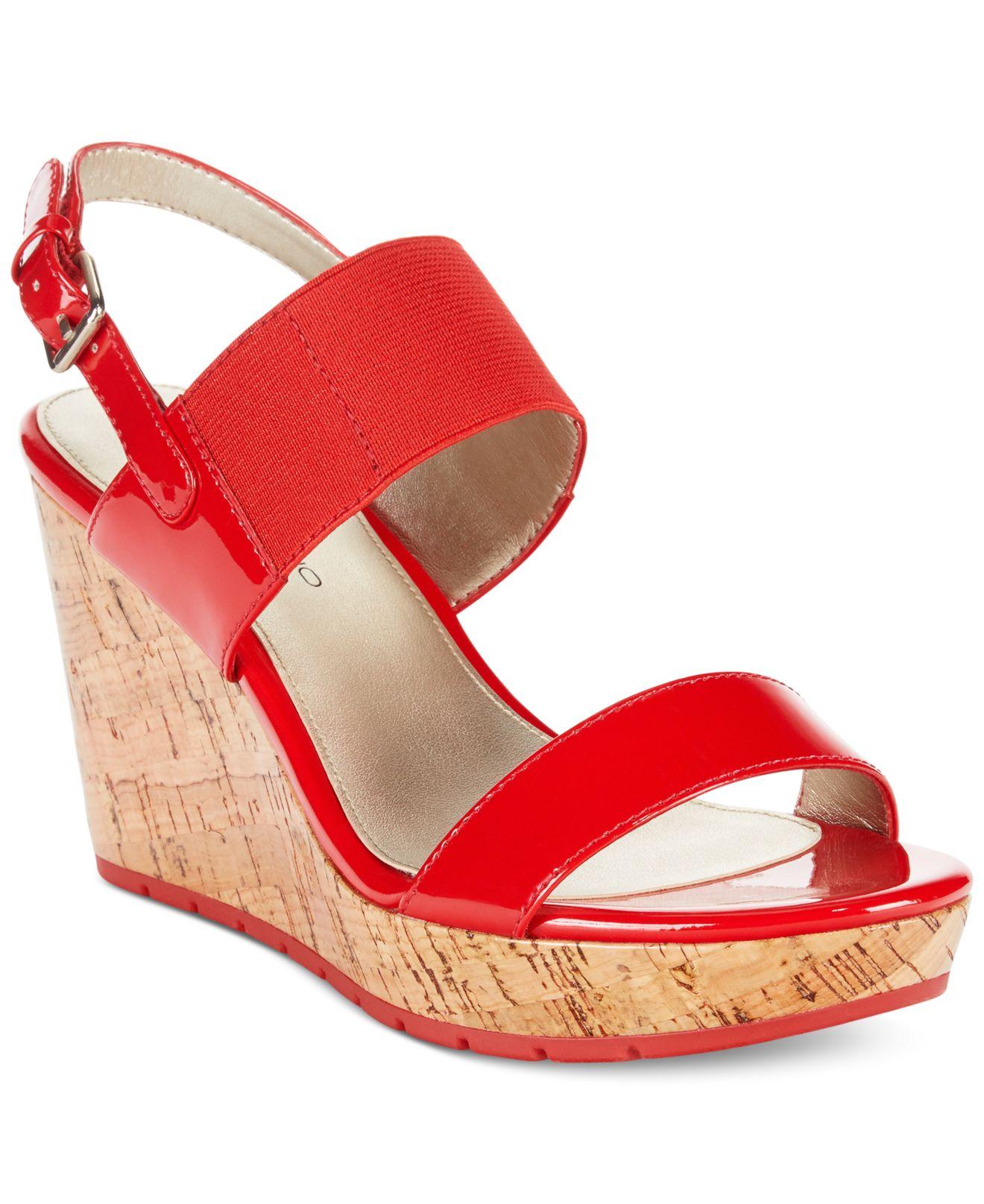 6a05d5b1379 Lyst - Bandolino Annika Platform Wedge Sandals in Red