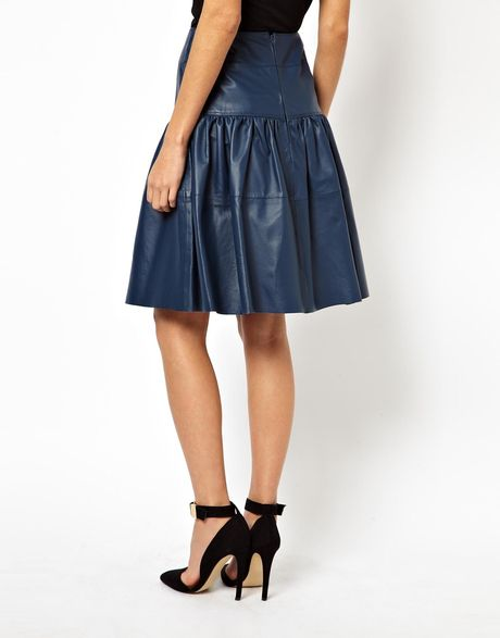 asos leather skirt with waistband in blue lyst