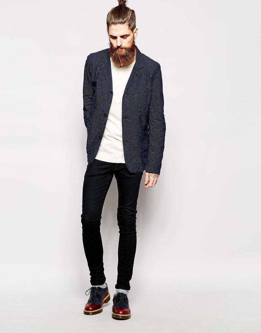 edwin blazer simple slim fit polka weave in blue for men. Black Bedroom Furniture Sets. Home Design Ideas