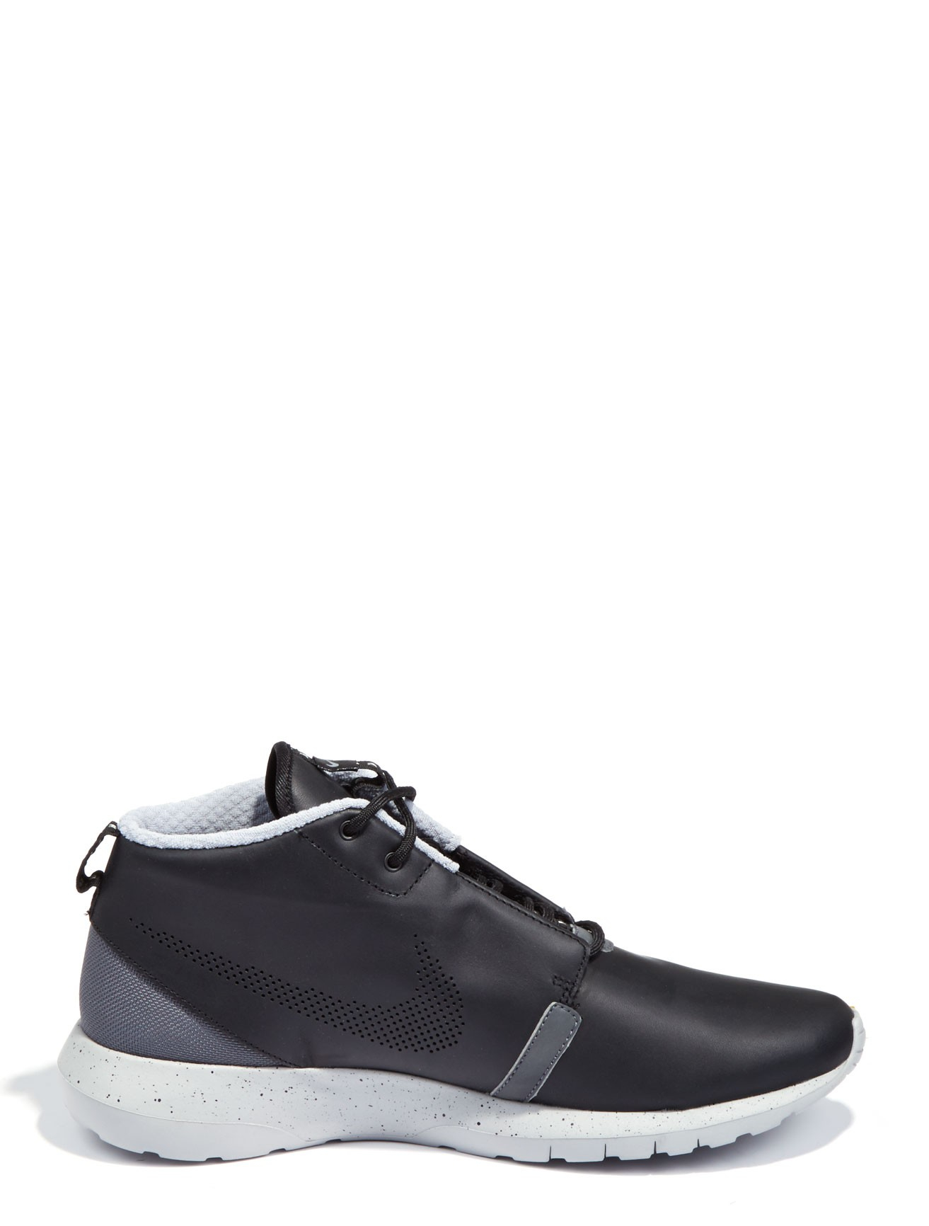 nike leather roshe run sneaker boots in black for lyst
