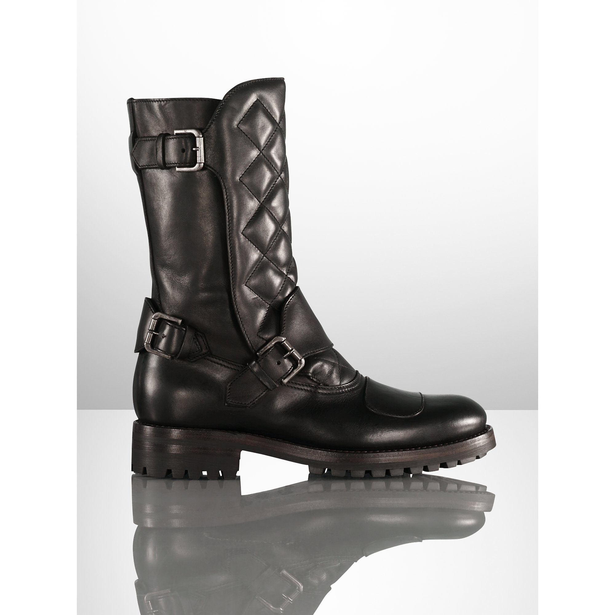 Pink Pony. Men\u0026#39;s Black Grover Leather Boot. $1500 From Ralph Lauren