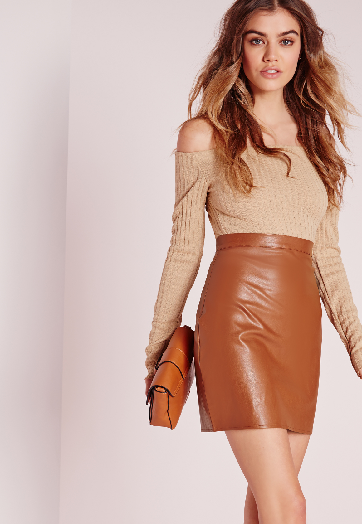 Missguided Tall Faux Leather Mini Skirt Tan in Brown | Lyst