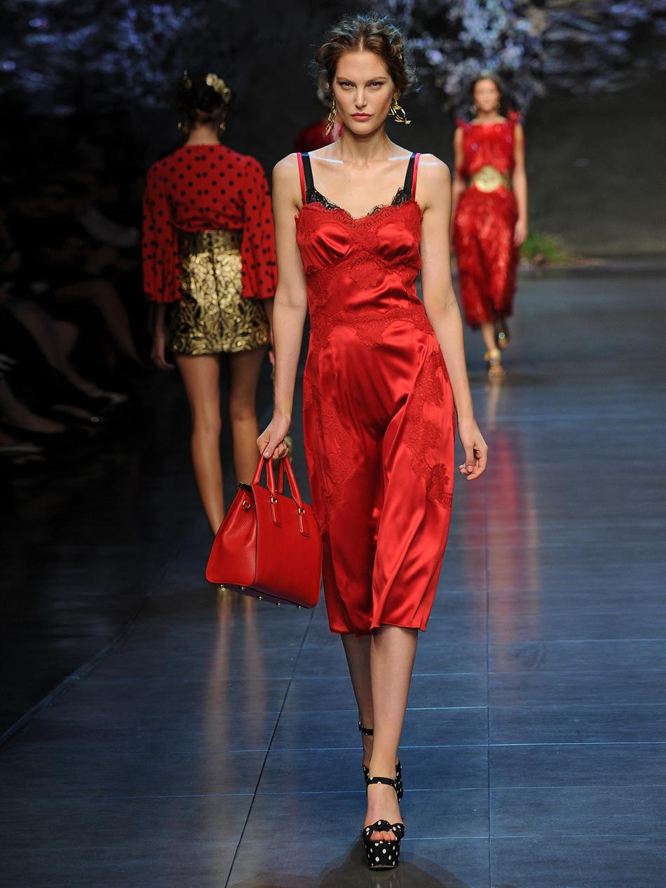 Dolce & gabbana Lace and Silk Dress in Red | Lyst