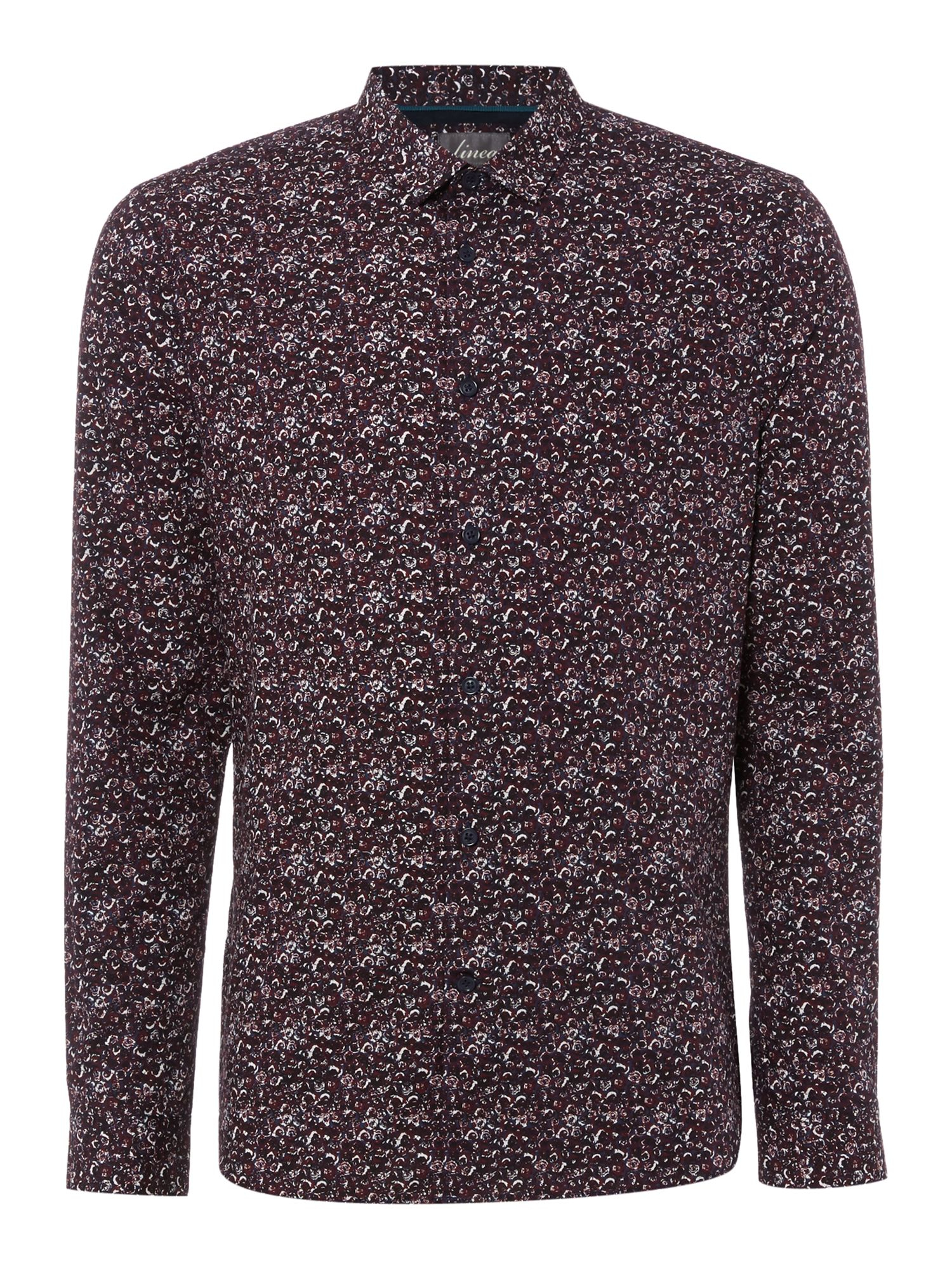 Linea carr floral long sleeve print shirt burgundy in red for Print long sleeve shirt