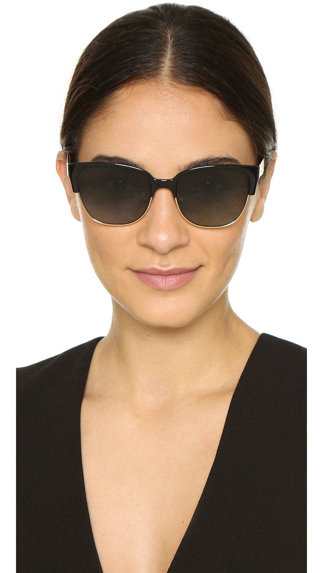 0dbc8d1ce883 Lyst - Tory Burch Rimless Bottom Polarized Sunglasses - Black Gold ...
