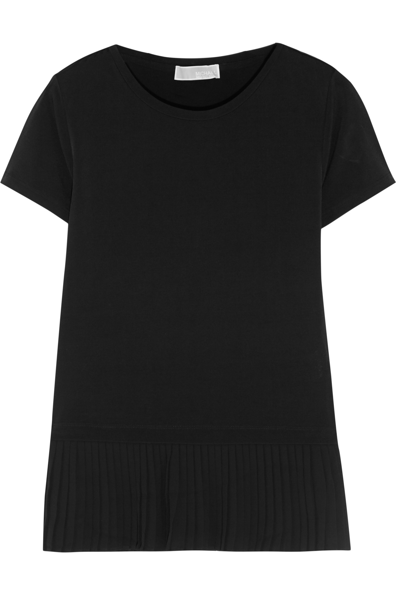 michael michael kors pleated crepe trimmed stretch jersey t shirt black in black lyst. Black Bedroom Furniture Sets. Home Design Ideas