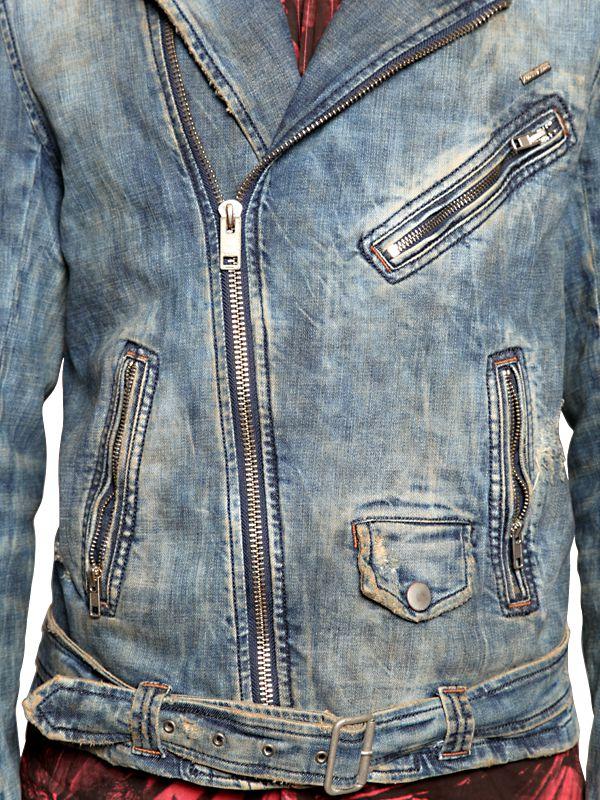 Lyst Diesel Vintage Effect Cotton Denim Biker Jacket In