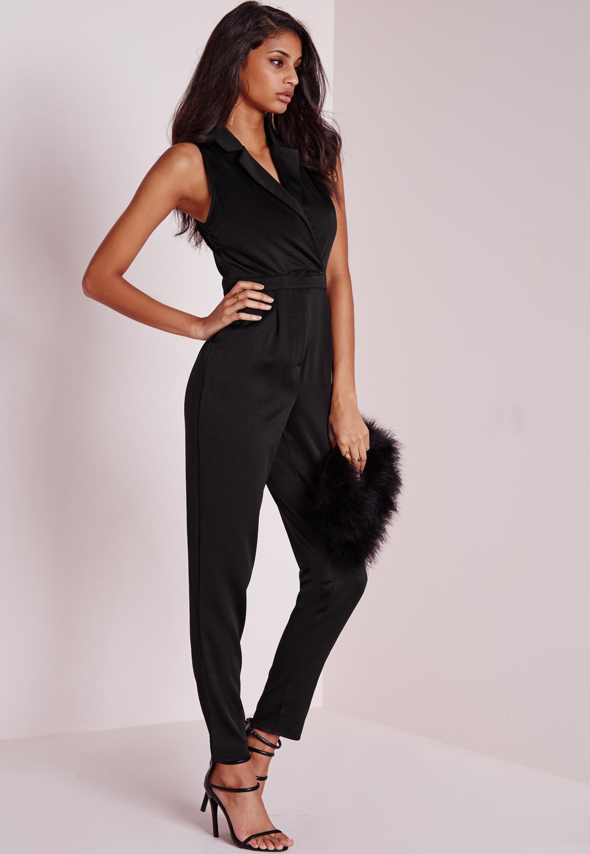 3b8e1fdcfac Lyst - Missguided Satin Tux Sleeveless Jumpsuit Black in Black