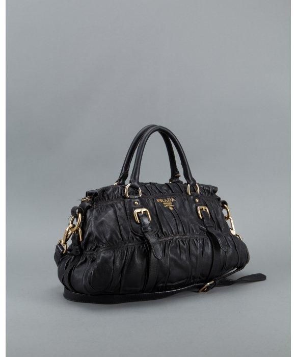 ... sale lyst prada black gauffre ruched leather vintage top handle bag in  fc697 8b1c2 de1bf182f7a60
