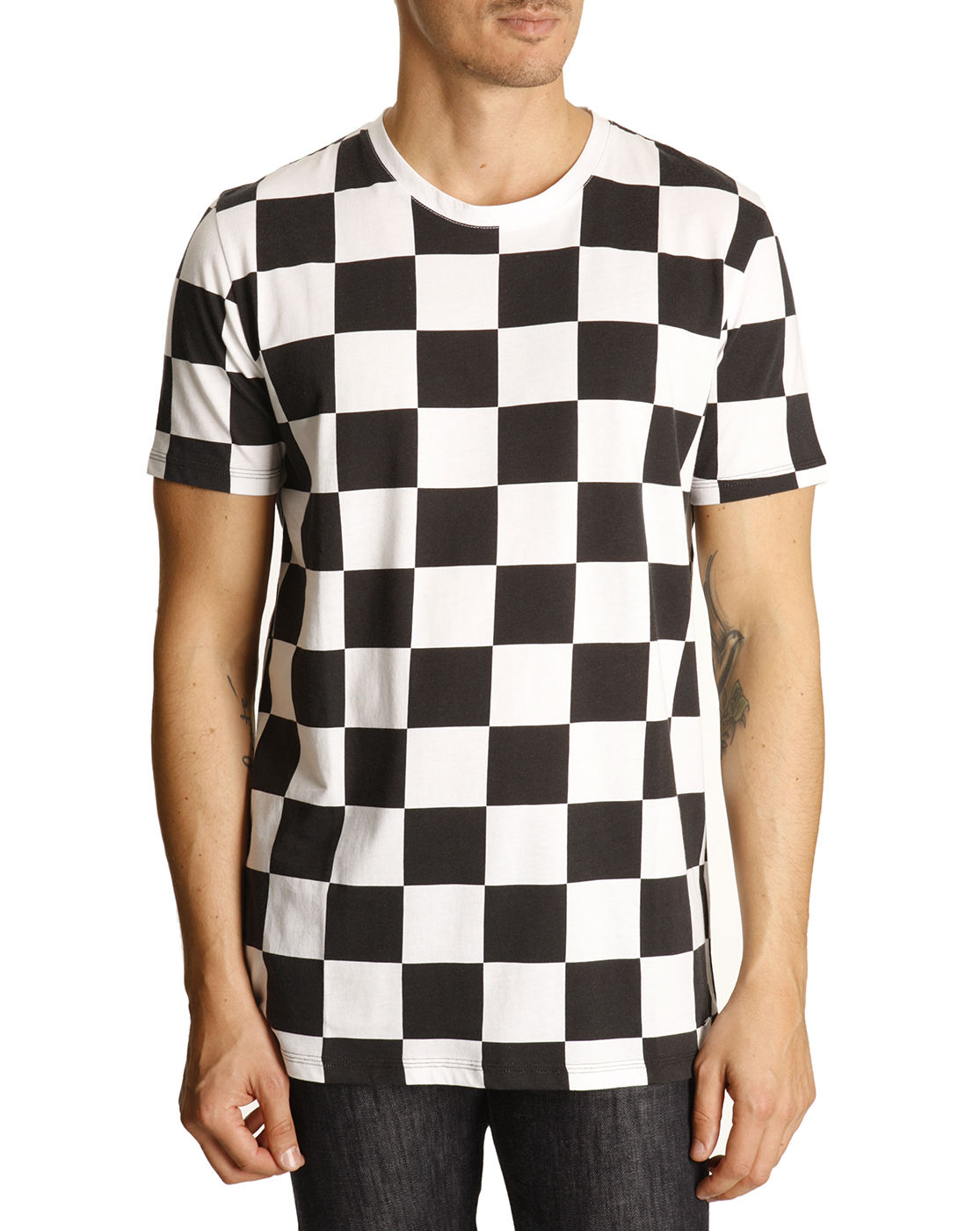 Hugo Black And White Checkerboard T shirt In For Men