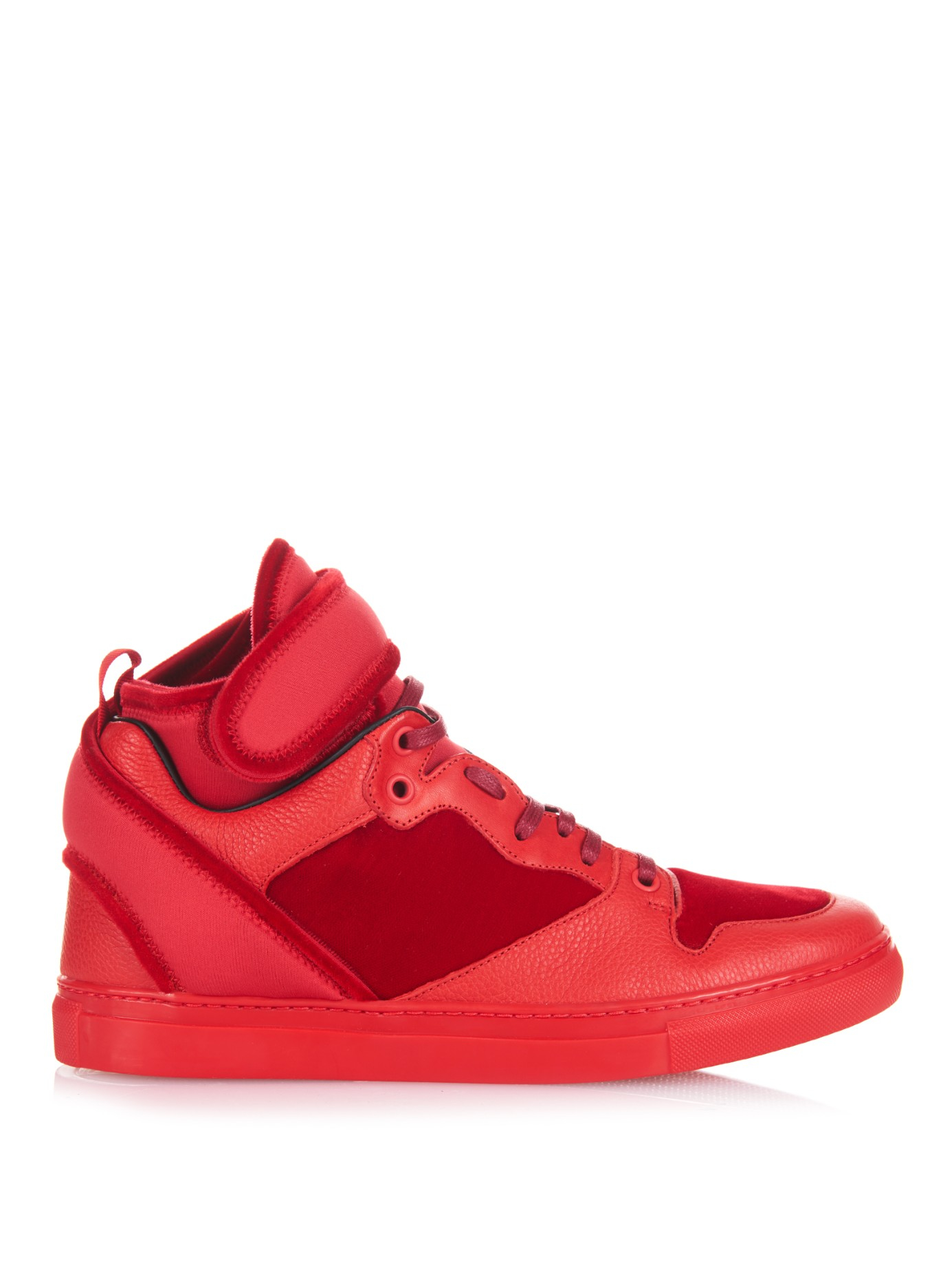 balenciaga velvet and leather paneled hightop sneakers in