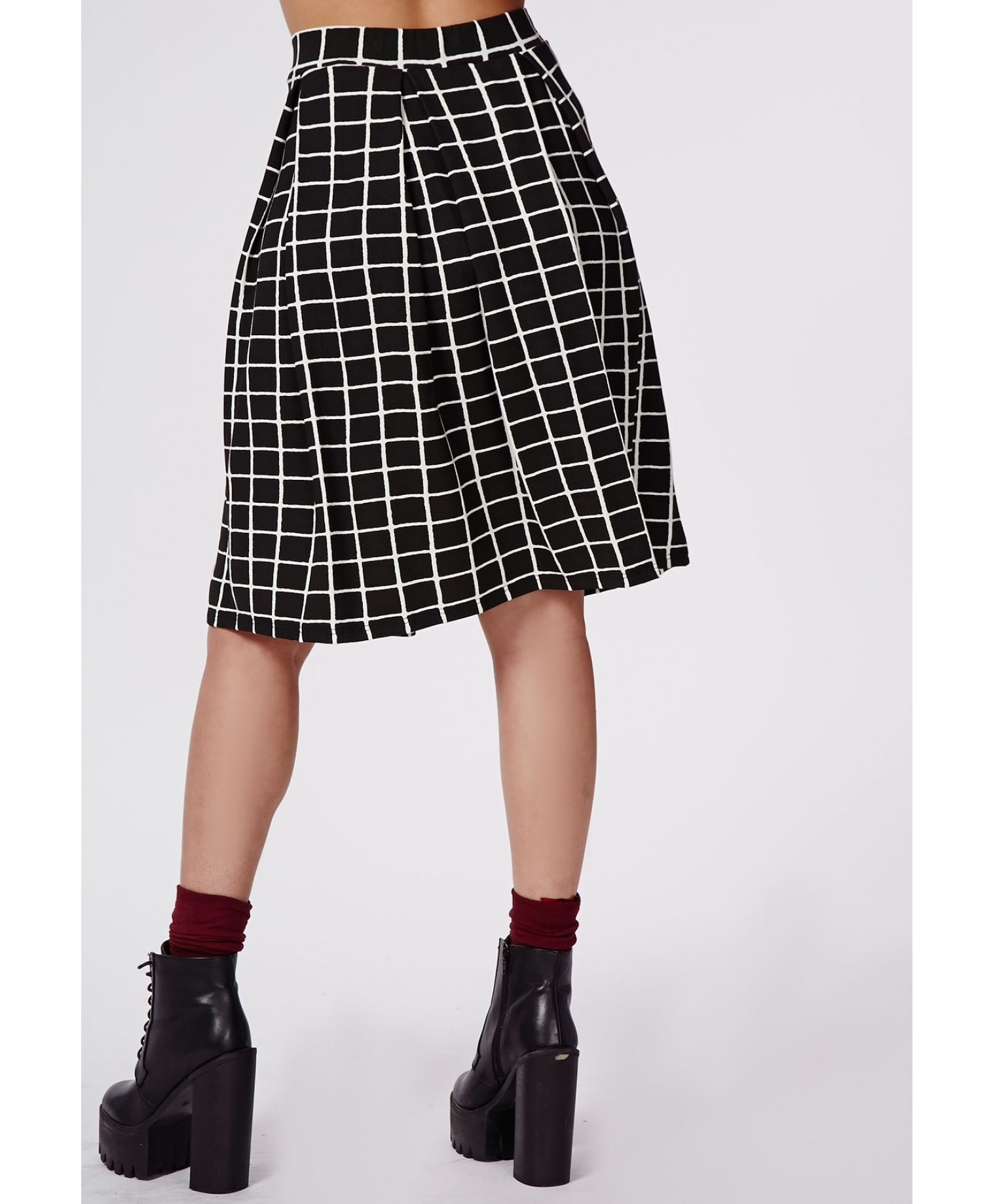 missguided plus size grid print midi skirt in black lyst