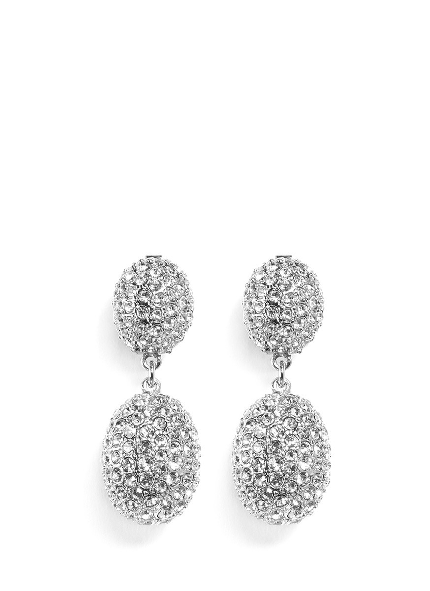 Kenneth Jay Lane White+Crystal Teardrop Clip Earring White R02k96