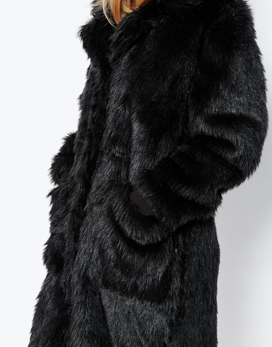Lyst first i faux fur coat in black for Lack fur kuchenschranke