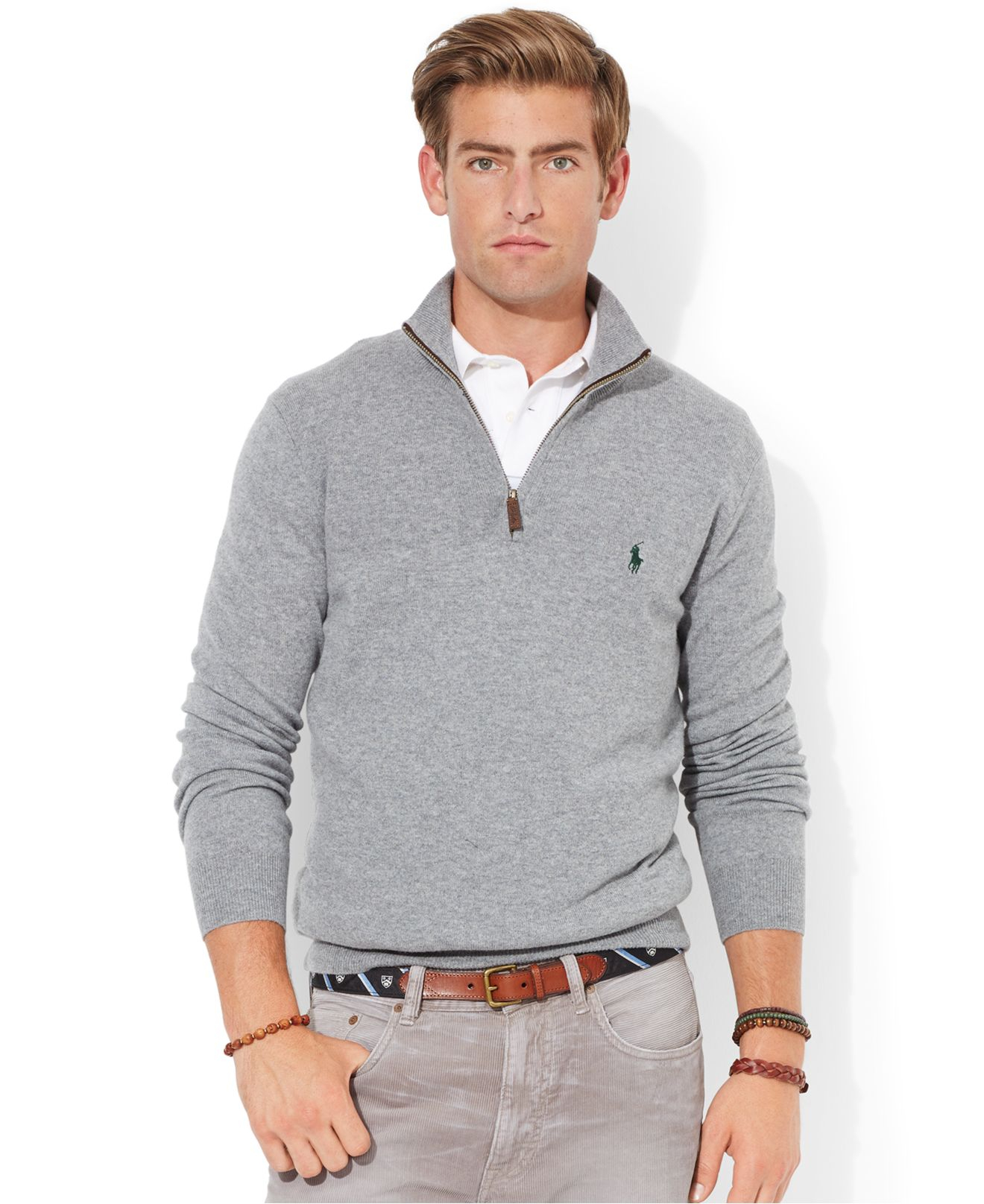 5089a116a Lyst - Polo Ralph Lauren Merino Wool Half-Zip Sweater in Gray for Men