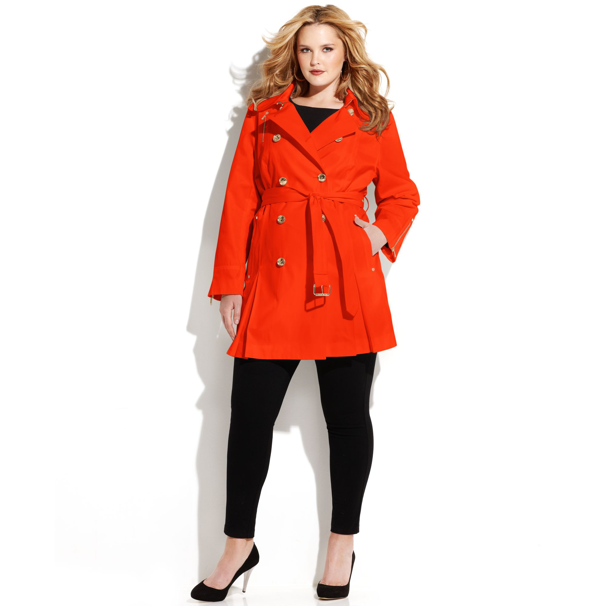 e38fb3e54df Michael Kors Plus Size Double Breasted Belted Trench Coat in Red - Lyst