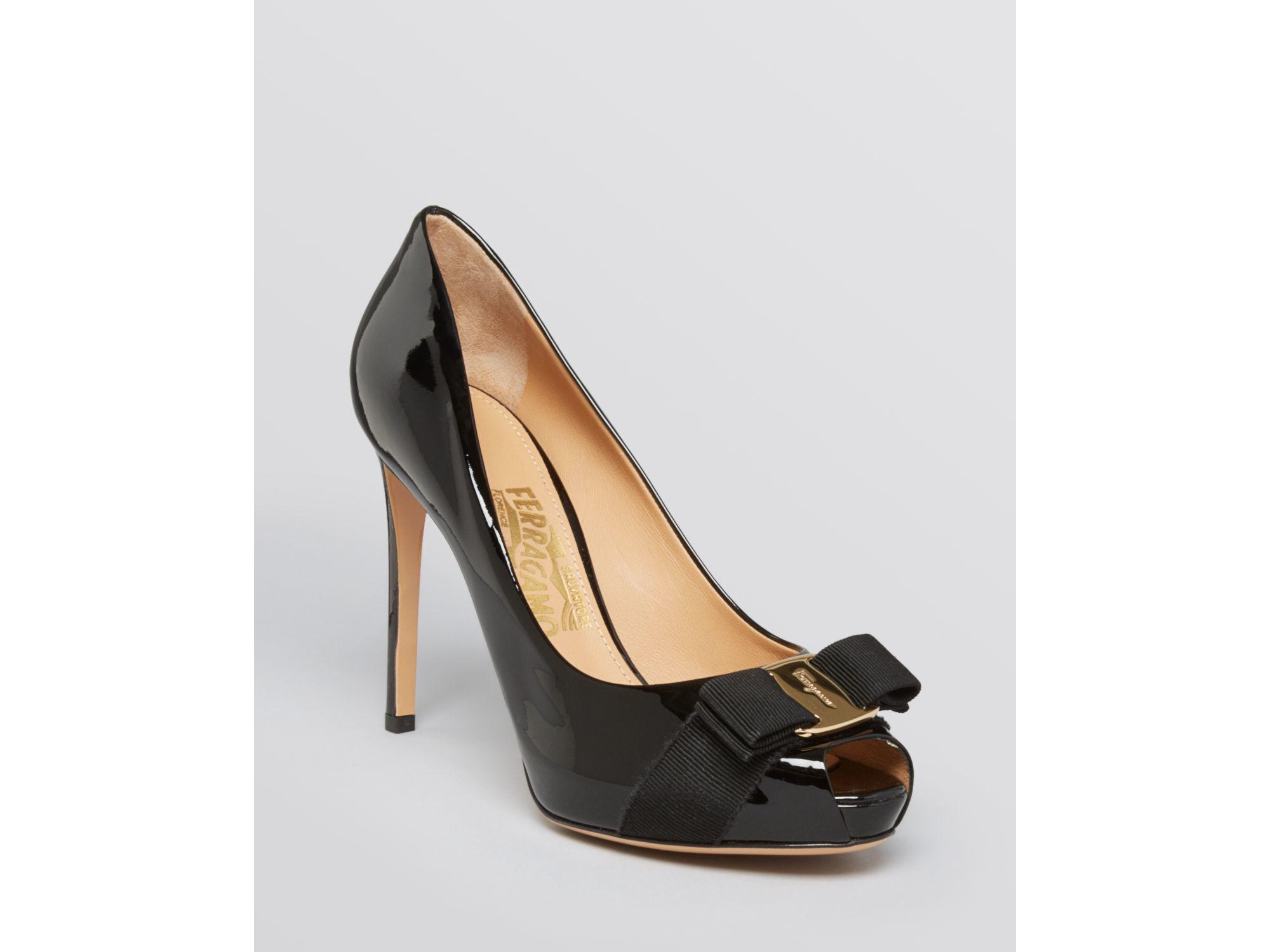 Lyst Ferragamo Peep Toe Platform Pumps Plum High Heel In Black Womens Pu Sweet Heels Shoes Gallery