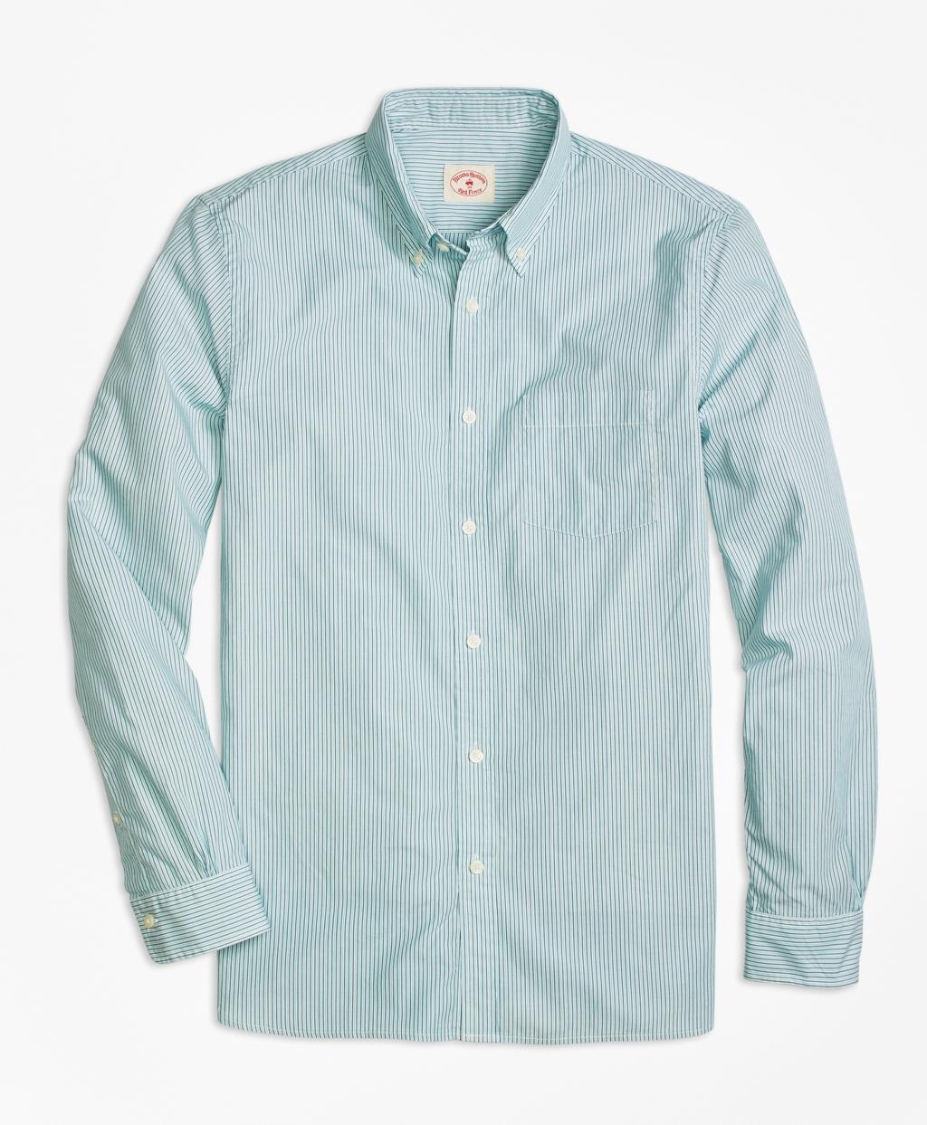 Lyst brooks brothers green stripe sport shirt in green for Brooks brothers sports shirts