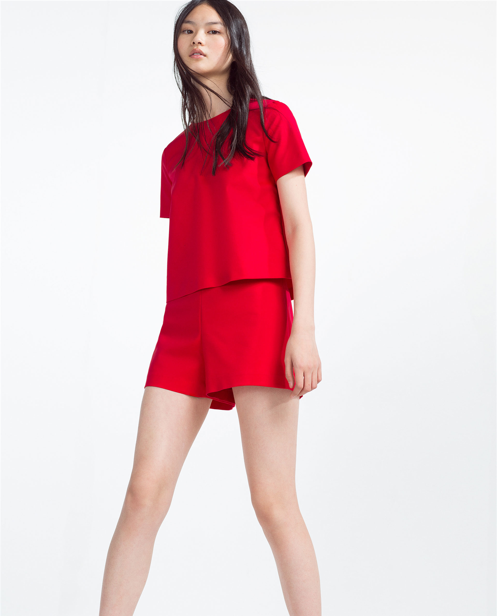 Zara Short Layered Jumpsuit in Red | Lyst