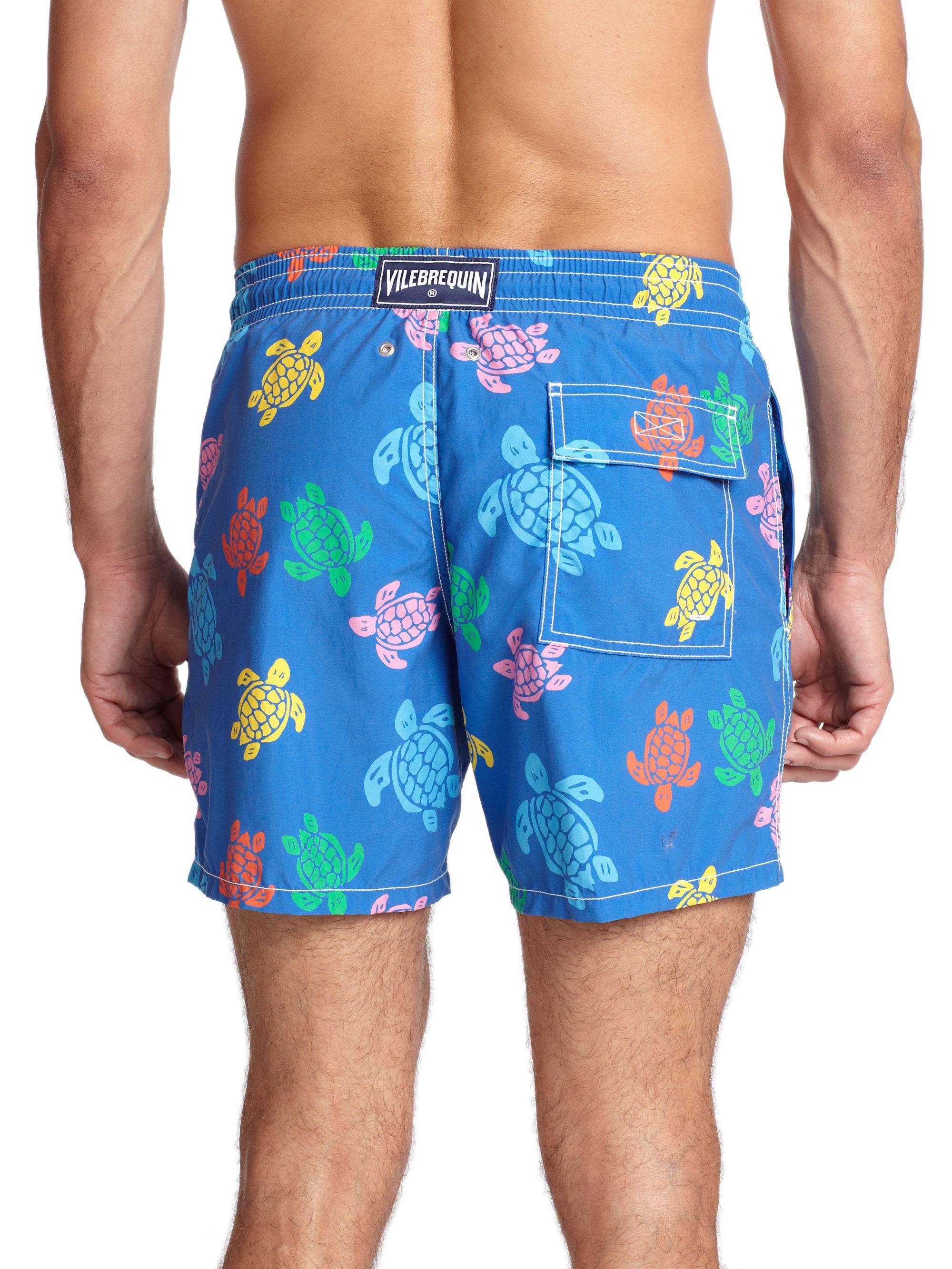 bc302cd72c Vilebrequin Moorea Turtle Print Swim Trunks in Blue for Men - Lyst
