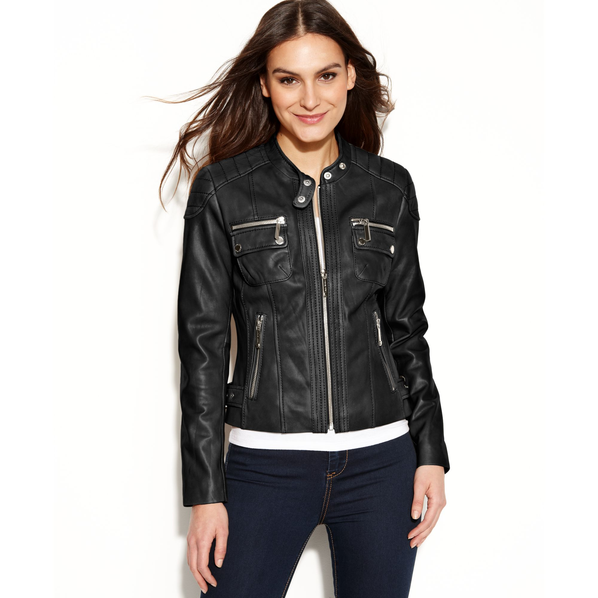michael kors michael petite quilted detail leather motorcycle jacket in black lyst. Black Bedroom Furniture Sets. Home Design Ideas