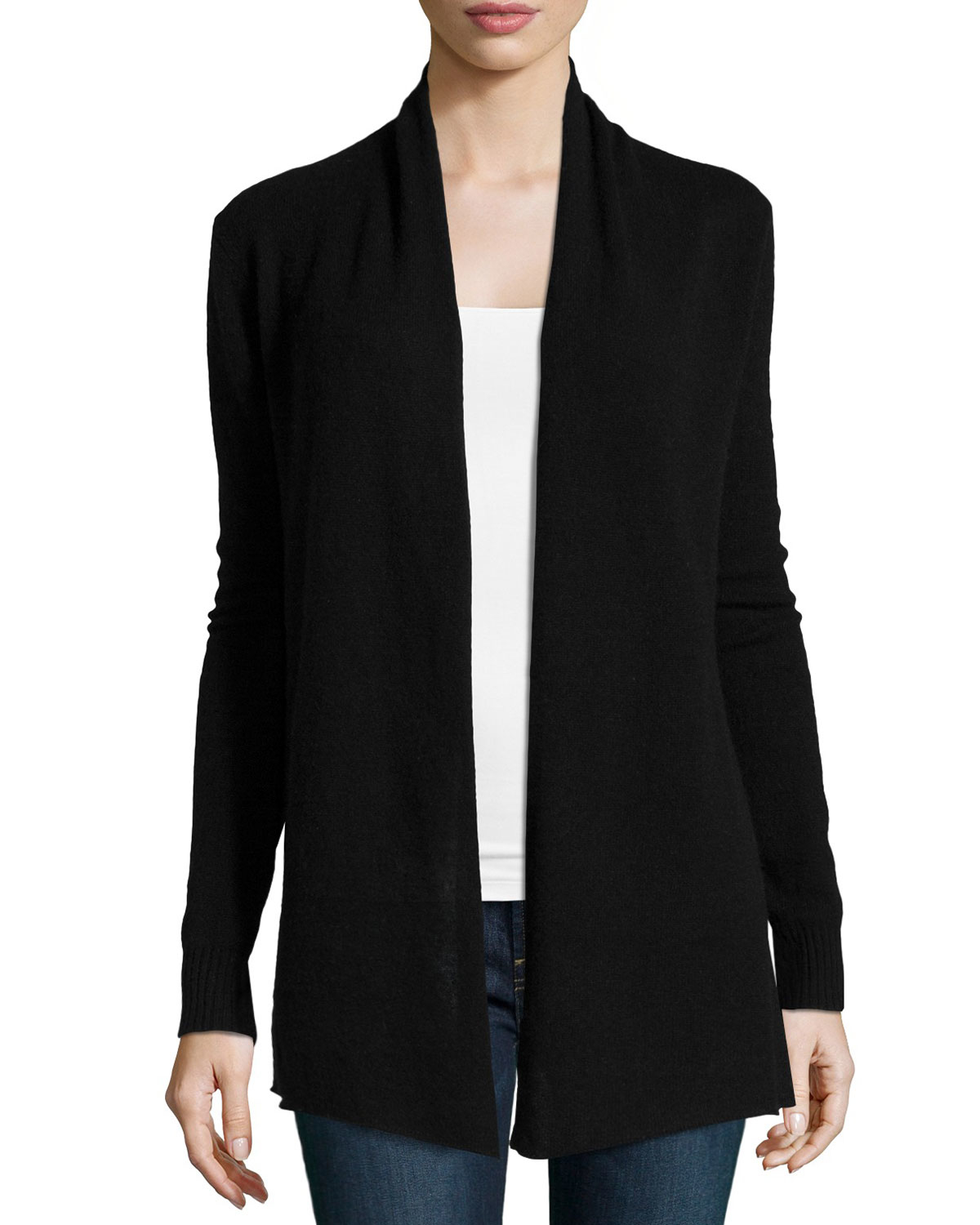 Neiman marcus Cashmere Open-front Cardigan in Black | Lyst