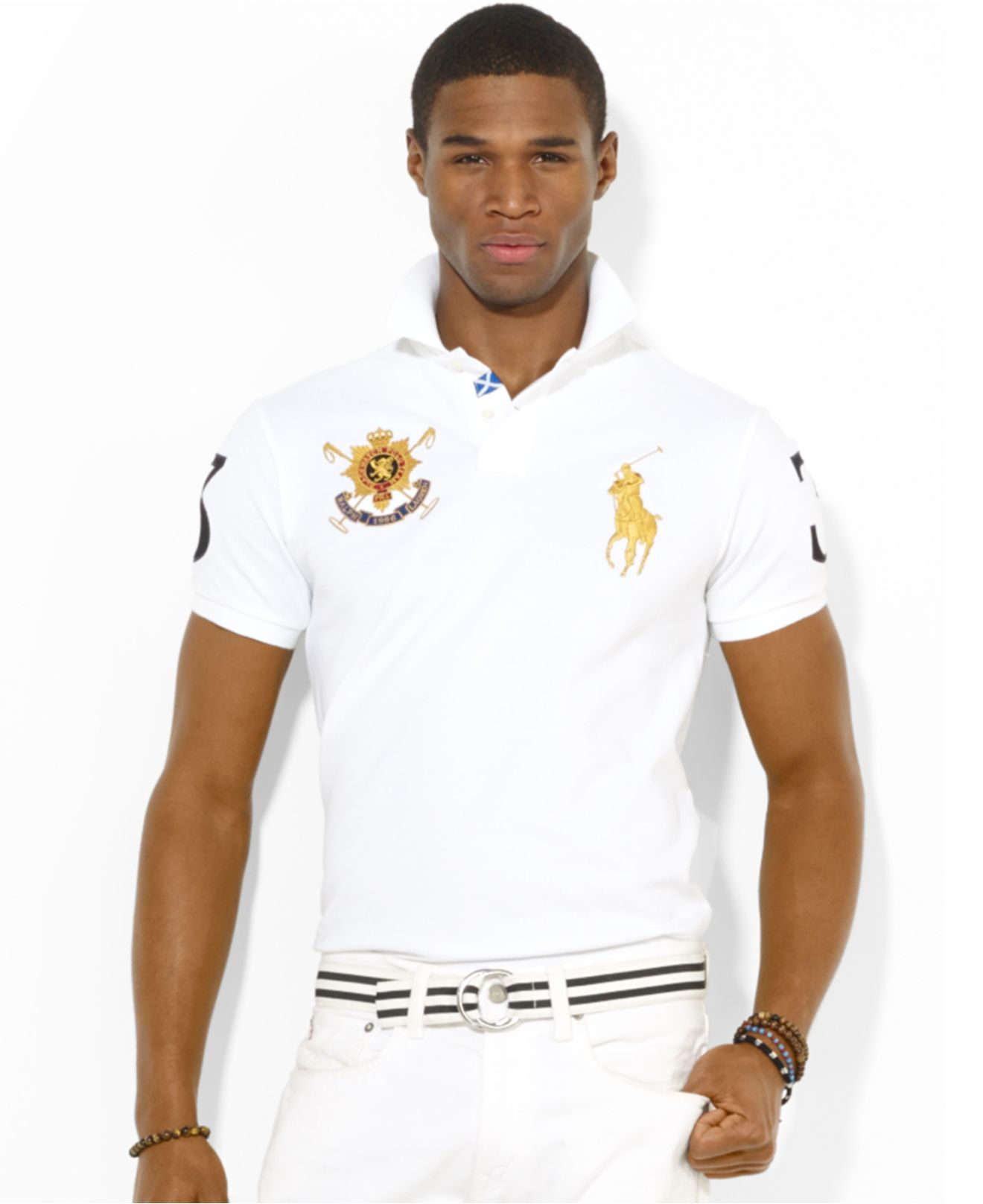 aacd0167 Polo Ralph Lauren Black Watch Custom-Fit Polo in White for Men - Lyst