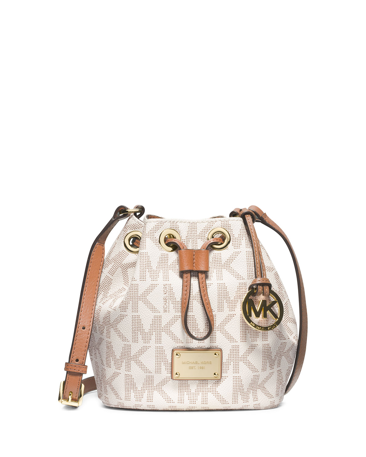 a851931e1249bb MICHAEL Michael Kors Jules Logo Drawstring Crossbody Bag in White - Lyst