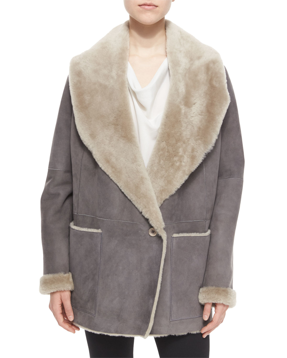Vince Draped Shearling Jacket in Gray | Lyst