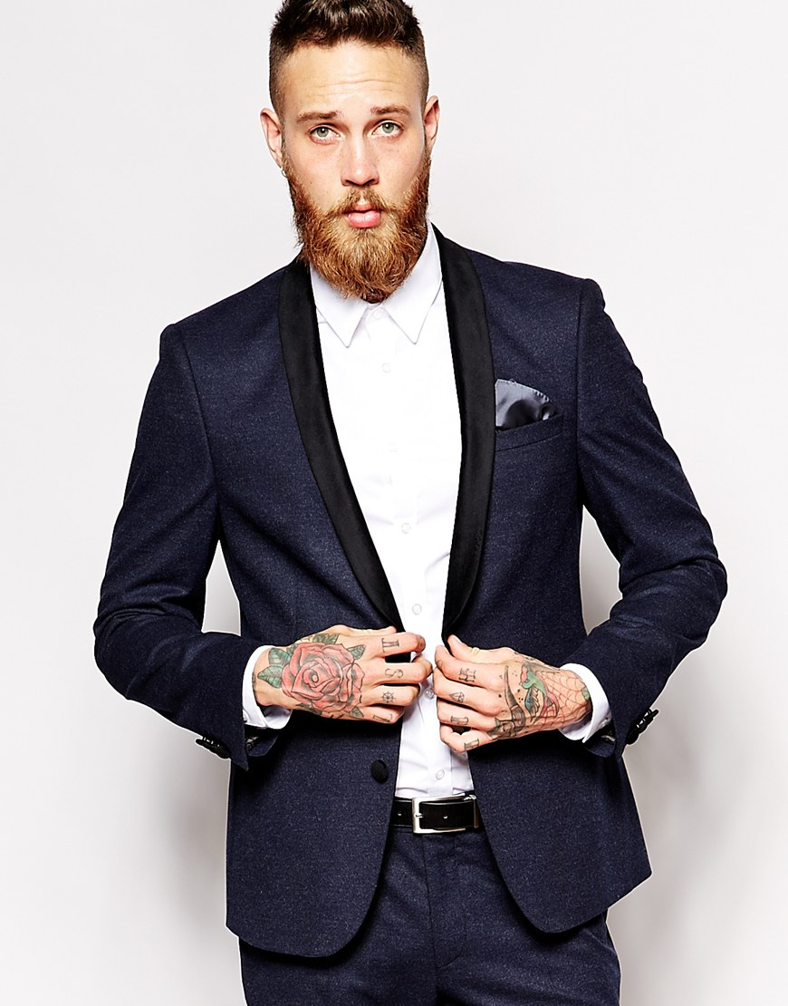 Asos Skinny Blazer In Washed Cotton In Navy in Blue for Men - Save ...