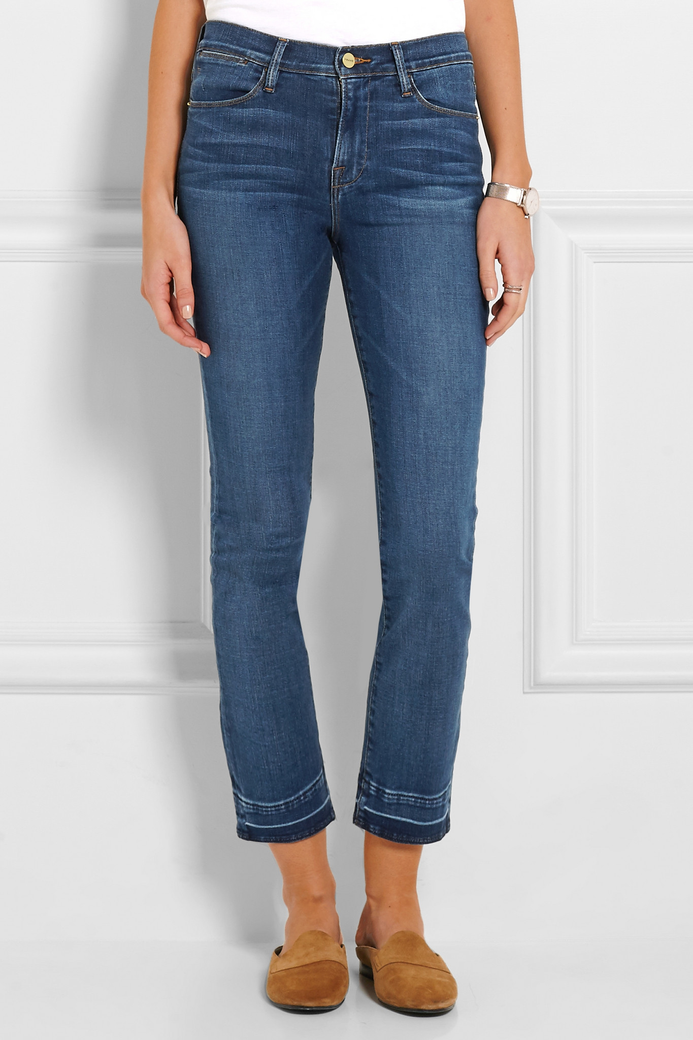Low Price Online Le High Cropped Frayed Straight-leg Jeans - Mid denim Frame Denim Get Top-Rated Buy Cheap Professional JcoH2H