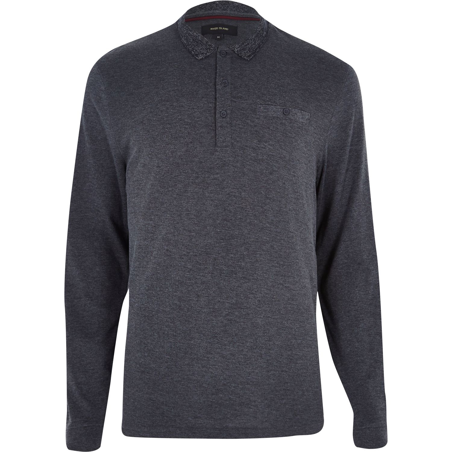 River Island Dark Grey Long Sleeve Polo Shirt In Gray For