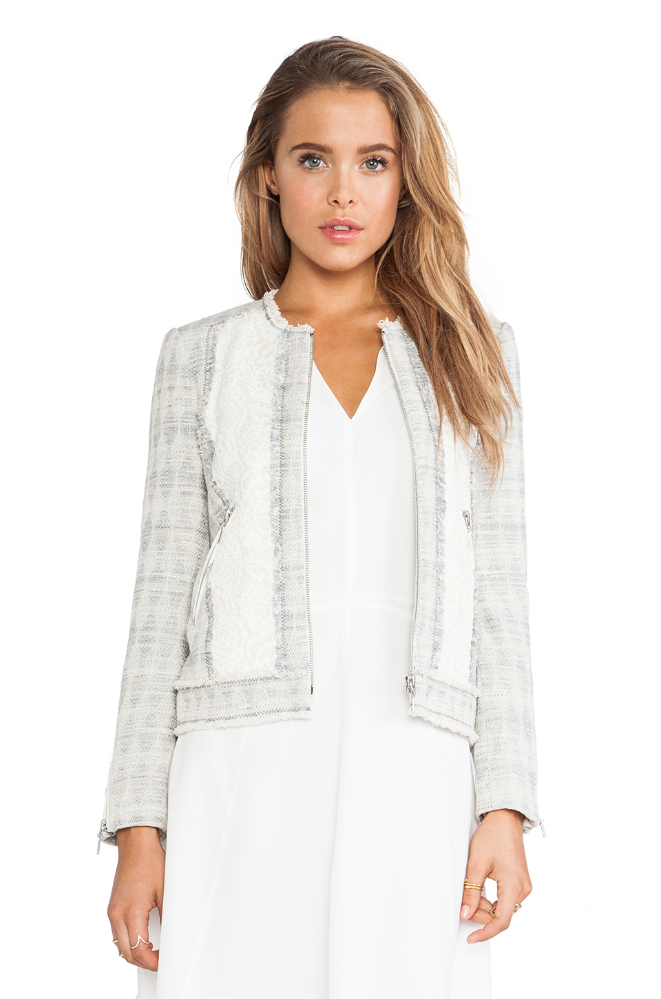 fd7dc2fb1a Lyst - Rebecca Taylor Mixed Tweed   Lace Jacket in White