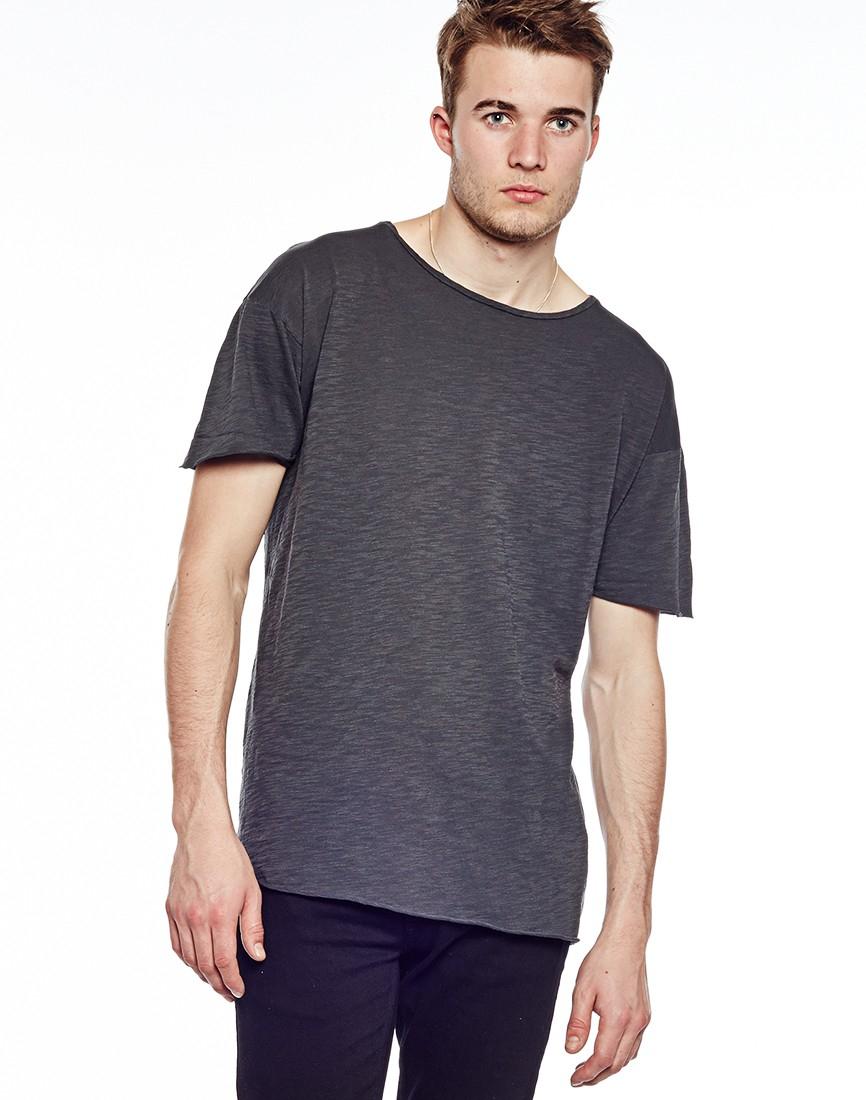 82aec923 Nudie Jeans Jeans Raw Hem Slub T-shirt in Gray for Men - Lyst
