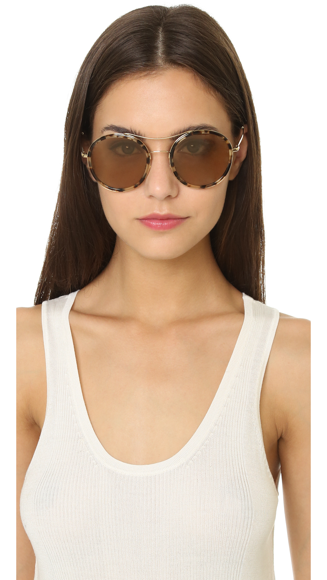 8b37dda362e Lyst - Gucci Round Aviator Sunglasses - Havana Honey Gold Brown in Brown