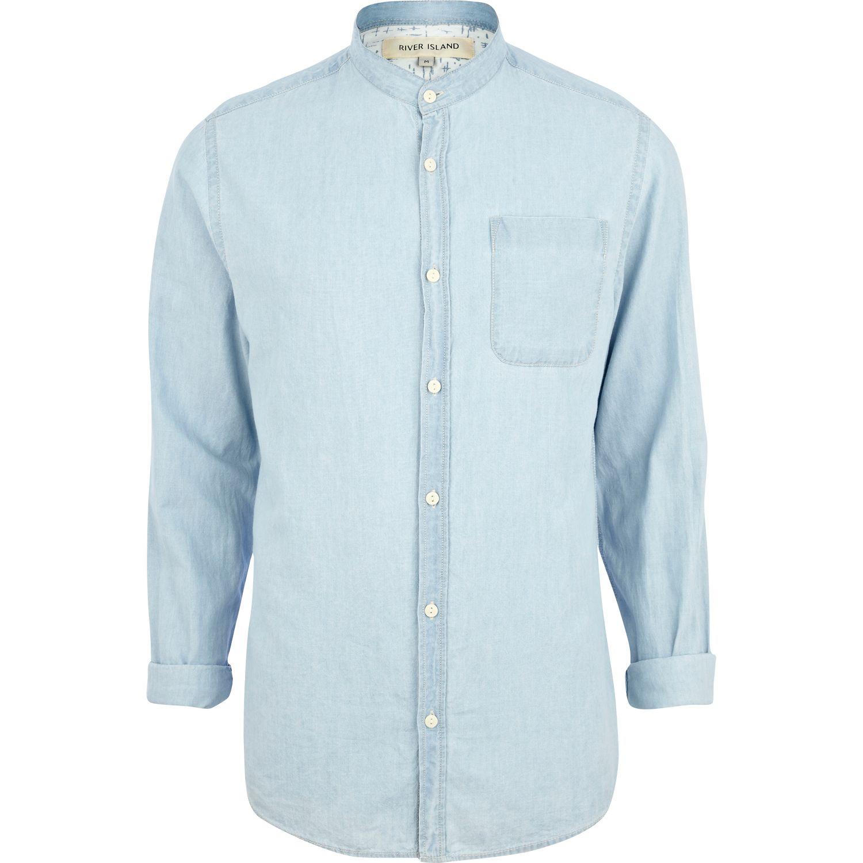 River island light wash grandad collar denim shirt in blue Mens grandad collar shirt