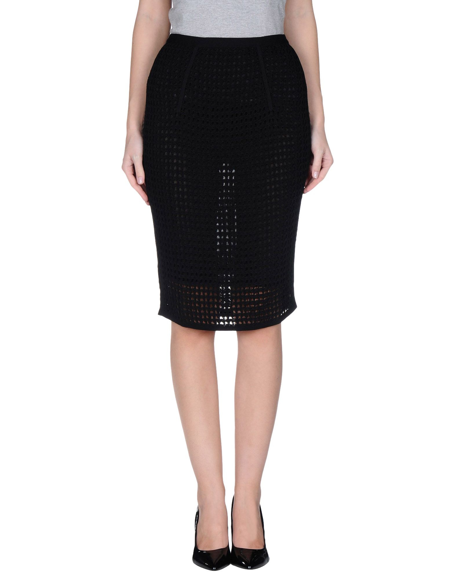 wang knee length skirt in black lyst