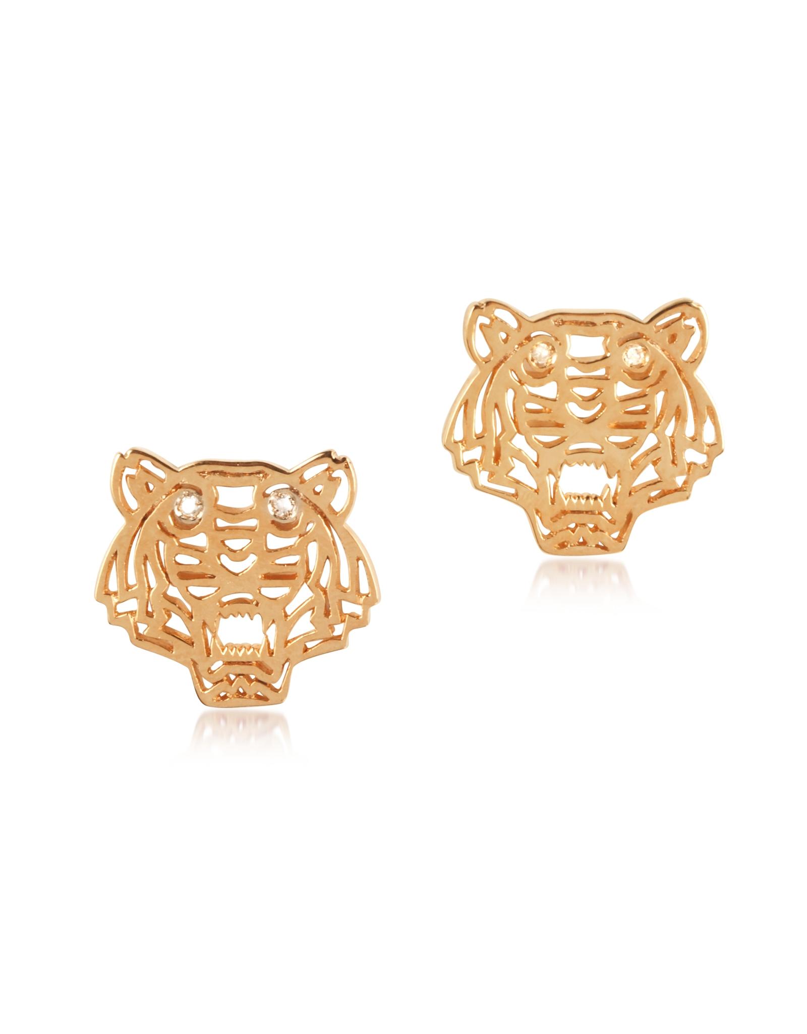 kenzo mini tiger earrings in pink lyst
