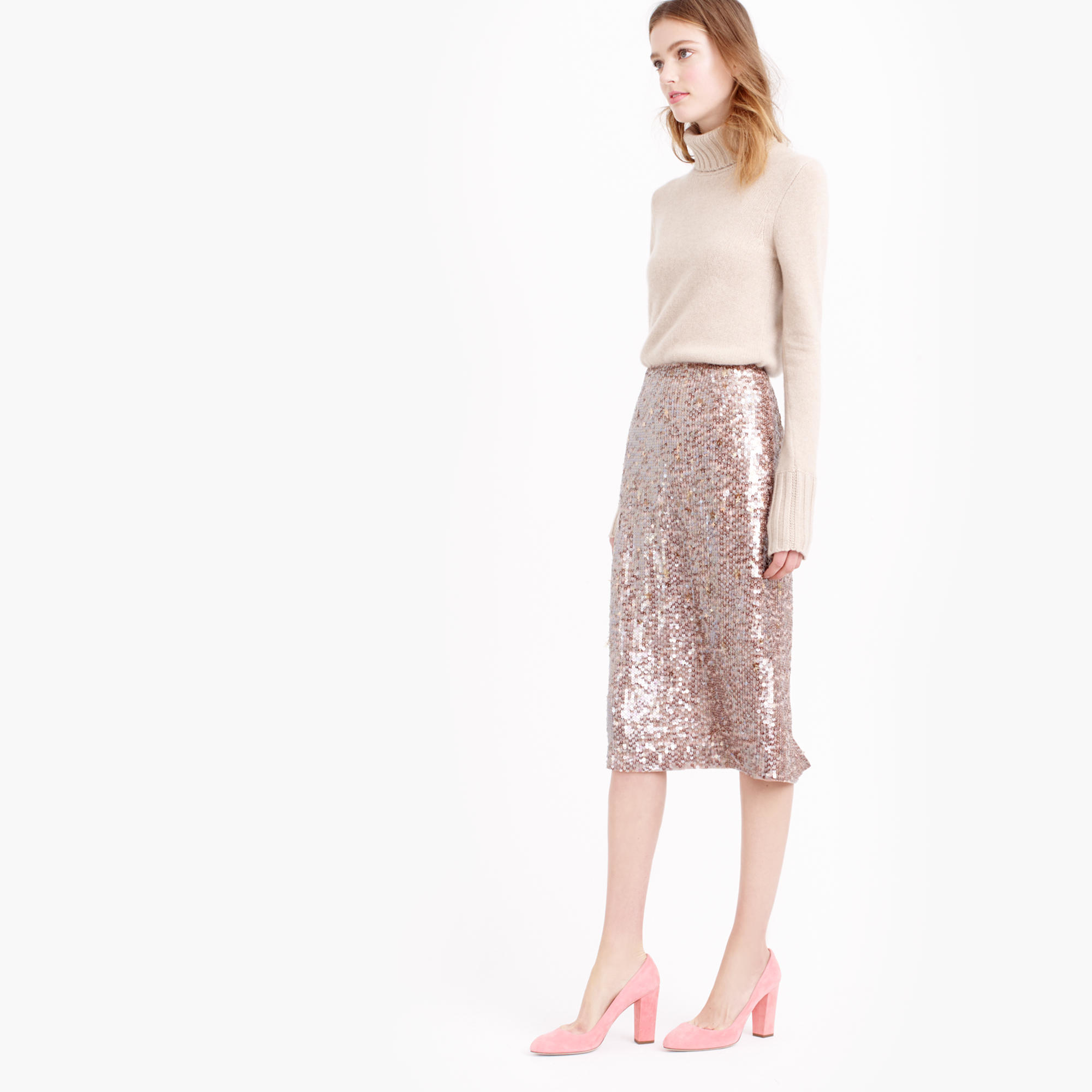J.crew Collection Starry Sequin Pencil Skirt in Pink | Lyst