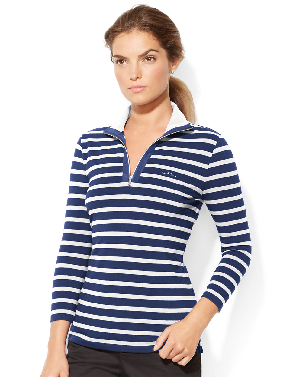 lauren by ralph lauren striped pullover in blue navy white lyst. Black Bedroom Furniture Sets. Home Design Ideas