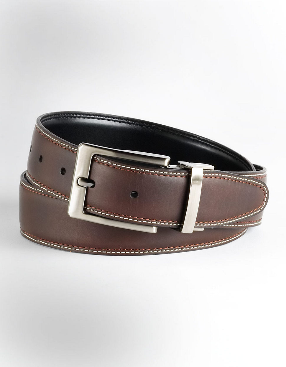 black brown reversible stitched leather belt in brown