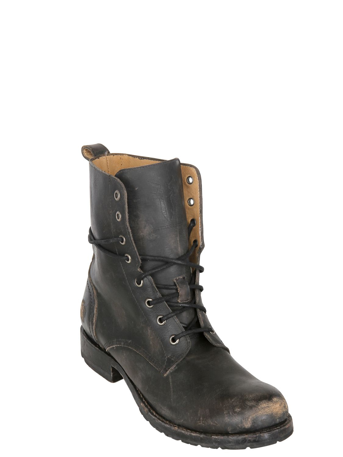 Frye 30mm Rogan Washed Leather Lace Up Boots In Black For