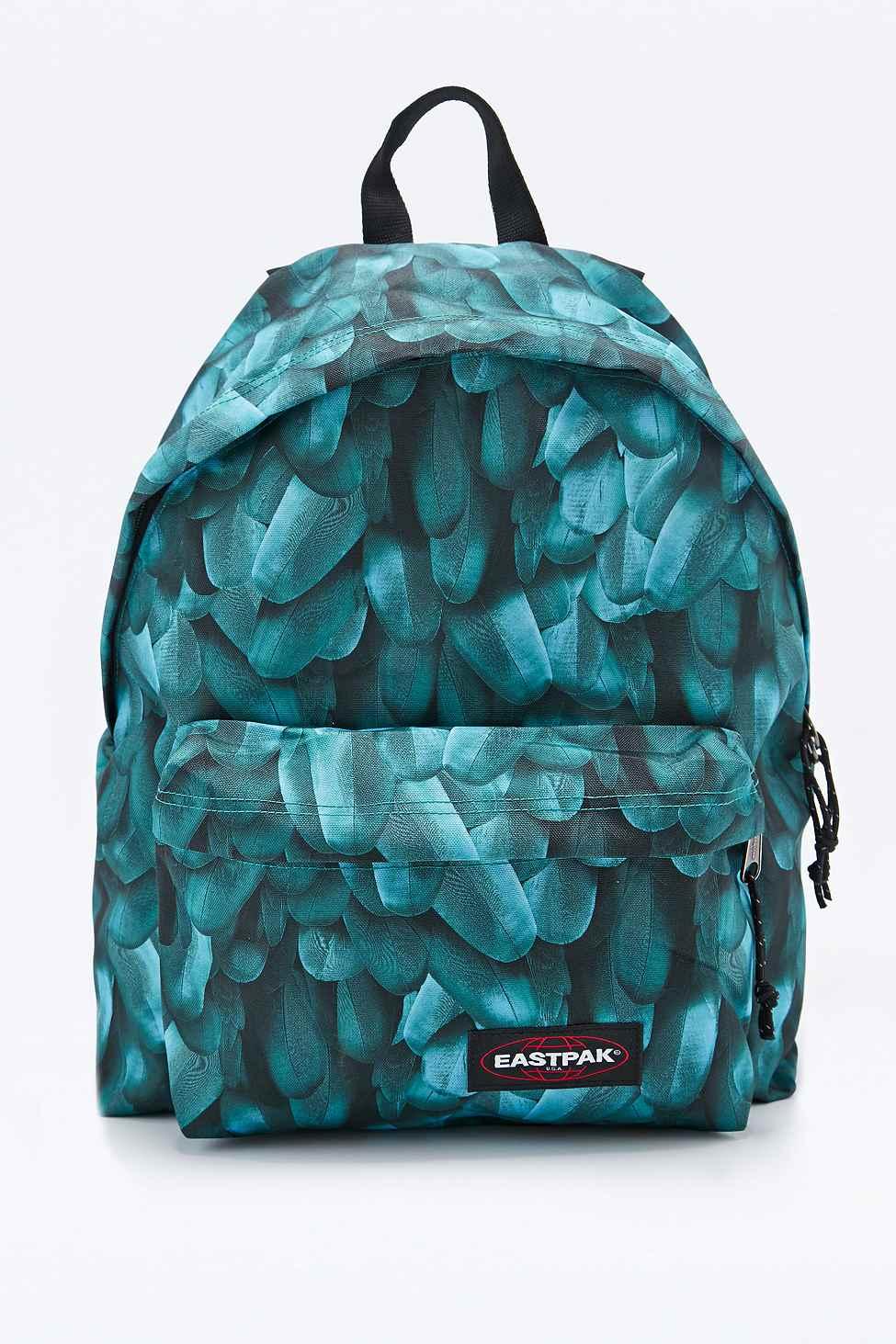 eastpak pak 39 r feather print padded backpack in teal in blue lyst. Black Bedroom Furniture Sets. Home Design Ideas