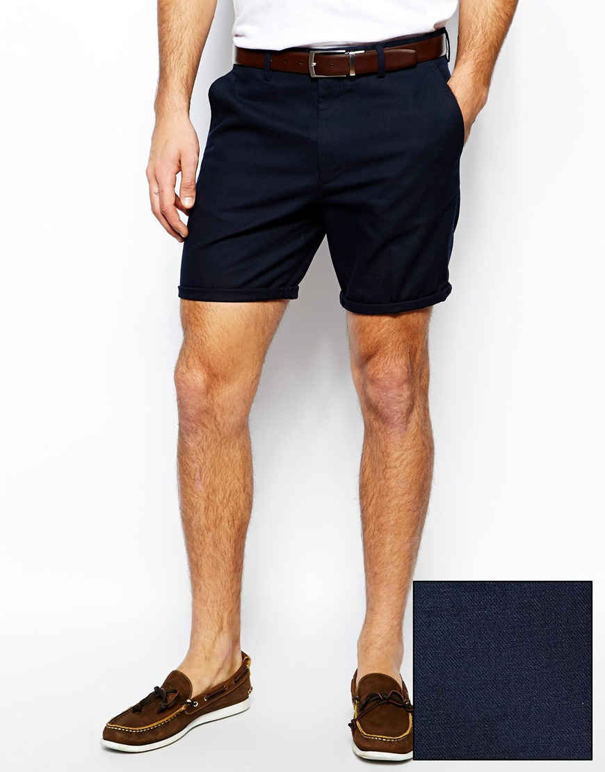 Asos Slim Fit Shorts In Washed Cotton in Blue for Men | Lyst