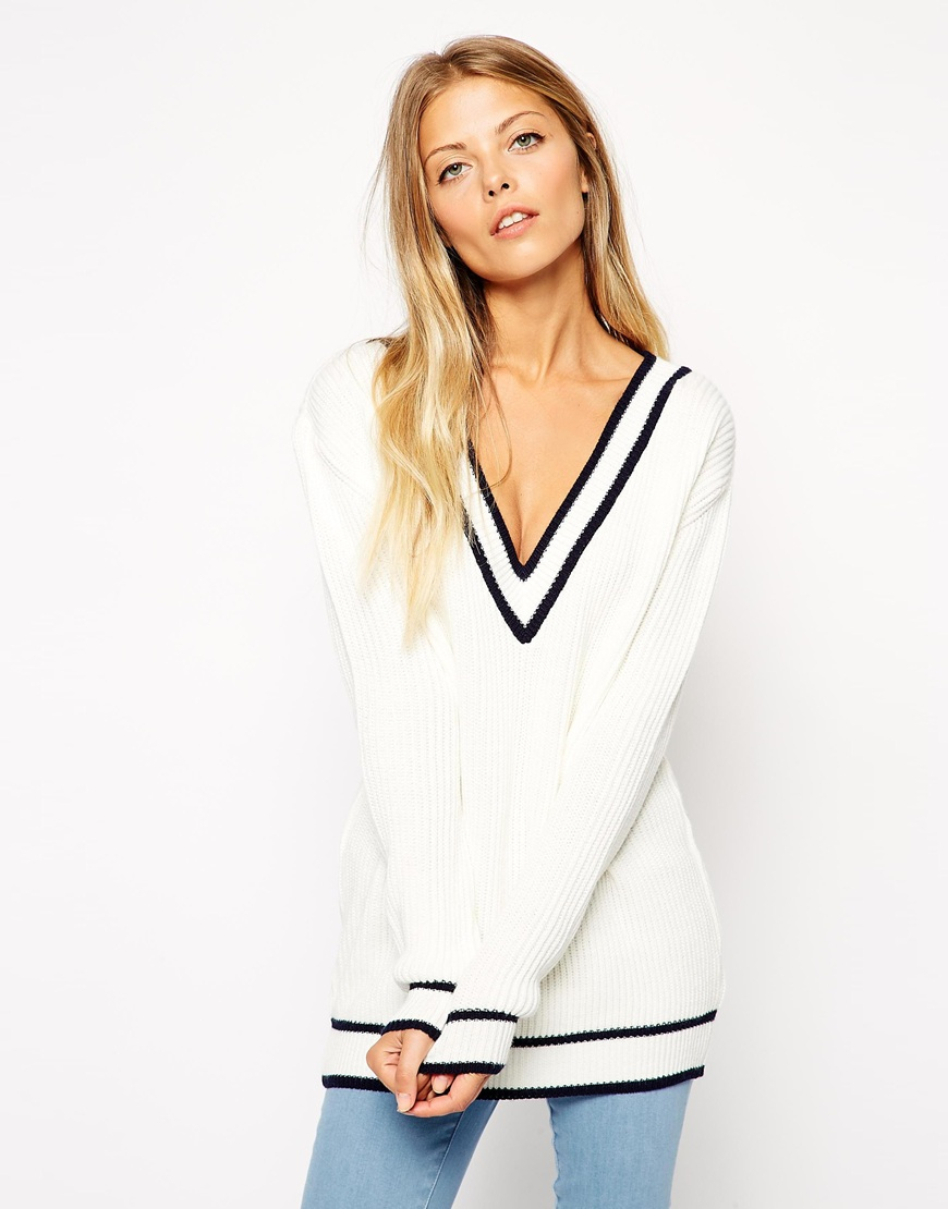 Lyst Asos Cricket Jumper With V Neck And Tipping In White