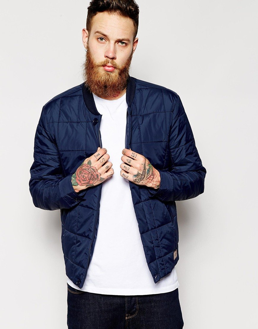 Asos Quilted Bomber Jacket in Blue for Men | Lyst