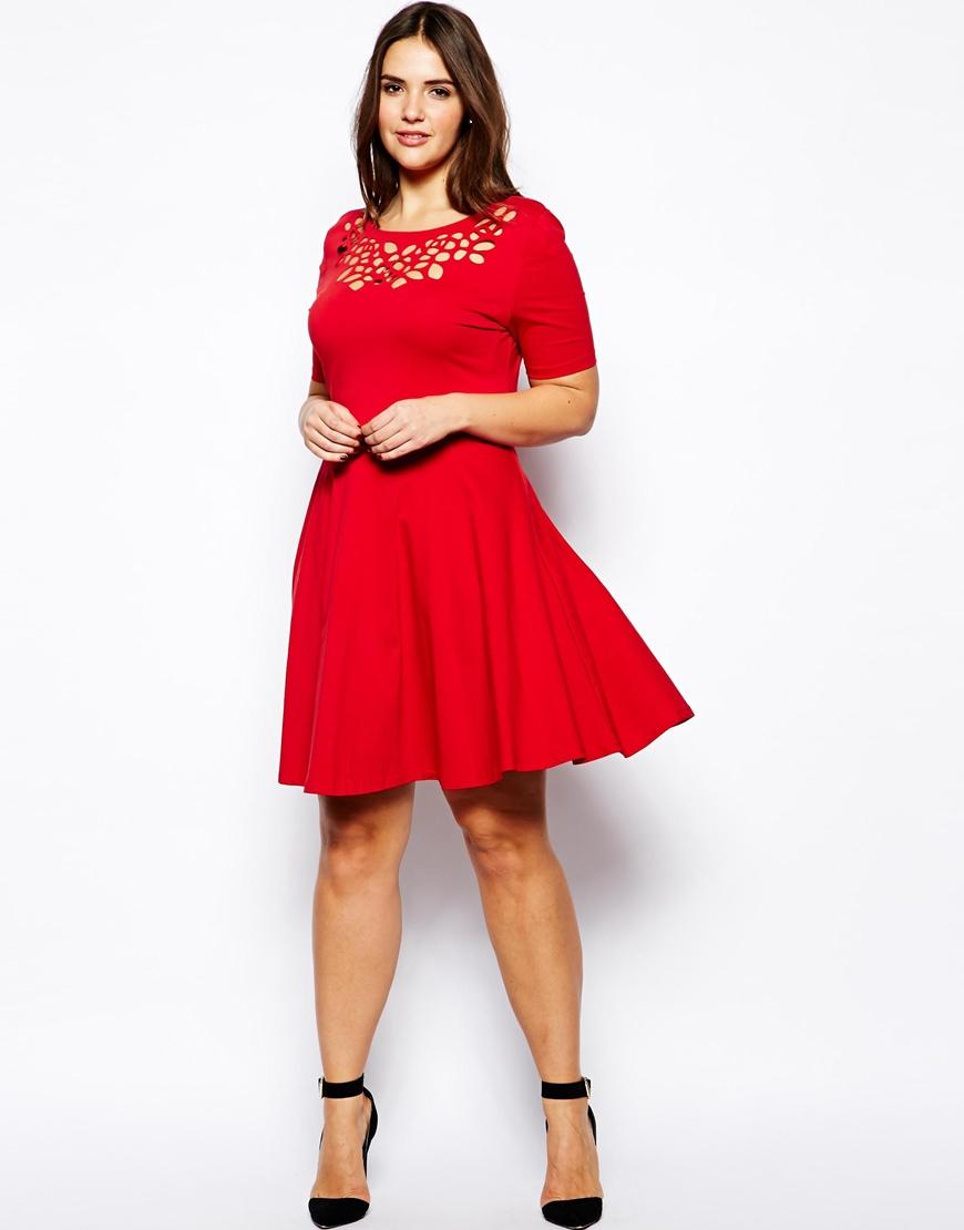 AX Paris Plus Size Laser Cut Skater Dress in Red - Lyst