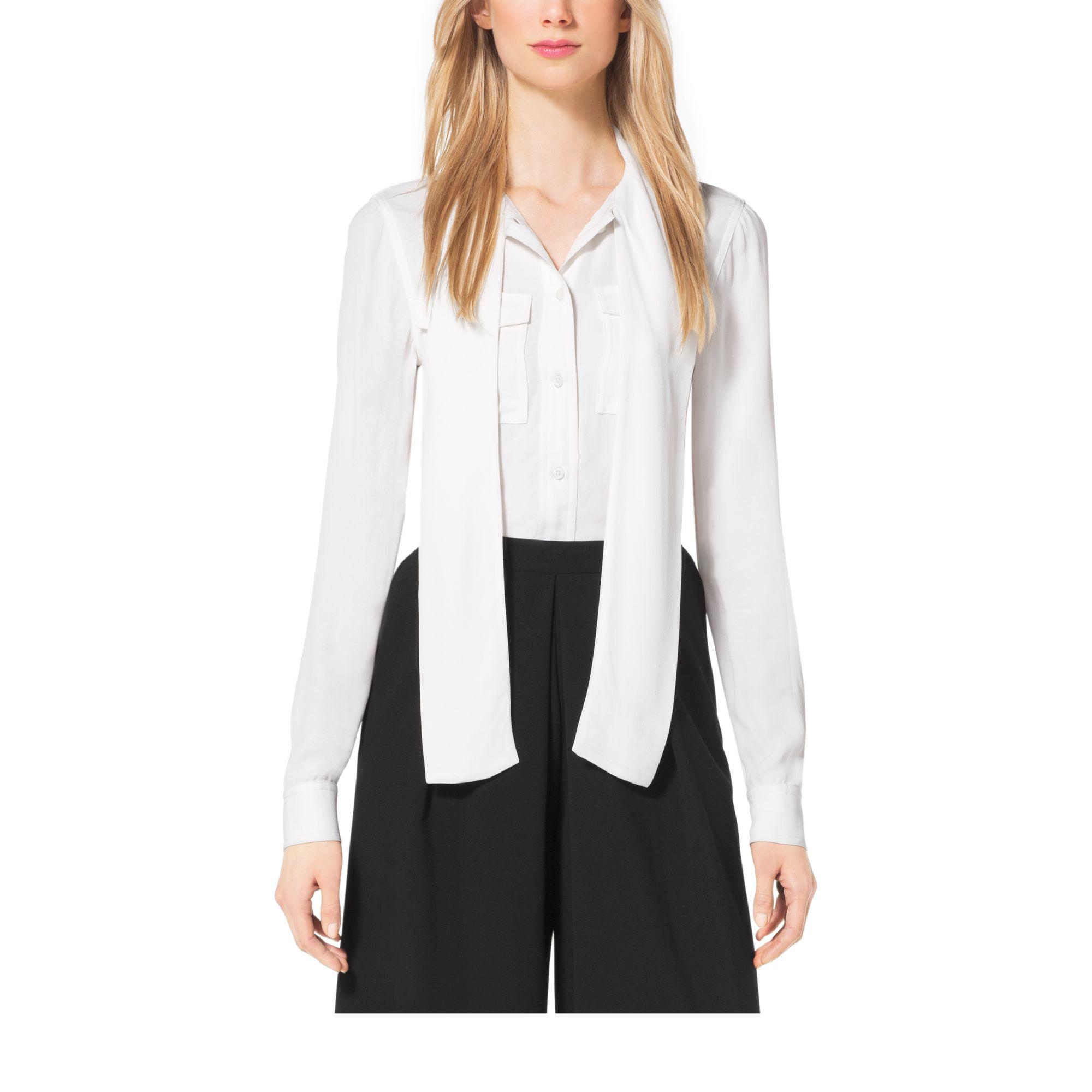 michael kors tie neck blouse in white lyst. Black Bedroom Furniture Sets. Home Design Ideas